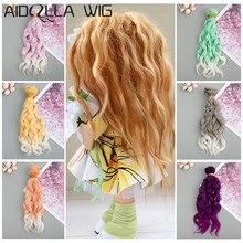 DIY BJD Doll Wigs Heat Resistant Fiber Wire Grey Khaki Purple Ombre Color Hair Extensions for 1/3 1/4 1/6 1/12 Dolls new arrival ombre color doll hair wigs heat resistant synthetic wire wigs for bjd sd dolls