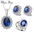 Magia Ikery Grandes Sistemas de la Joyería de Cristal de Zafiro de imitación Azul Neckalce Aretes Anillo Oro Blanco Plateado Declaración para Las Mujeres