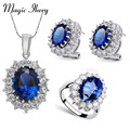 Magic Ikery Big Crystal imitation Sapphire Jewelry Sets Blue Neckalce Earrings Ring Set White Gold Plated Statement for Women