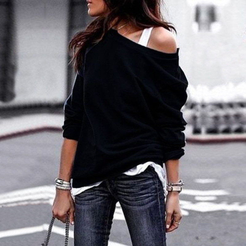 19 New Autumn Long Sleeve Women Casual Sweatshirts Off Shoulder Black Gray Tops Sweatshirts Streetwear Female Loose Sweatshirt 5