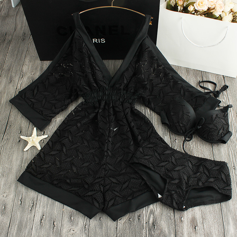 New Push Up Women Lace Swimwear Retro Black White  Cut Out Cover Up Bathing Suit Set Dress Summer Sea 3 Piece