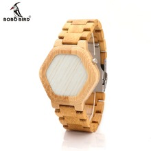 BOBO PÁSSARO E03 Bambooo Kisai relógio de Pulso Dos Homens De Madeira de Madeira Led Relógio Exclusivo Night Vision Relógio Com Caixa de Bambu Cheio