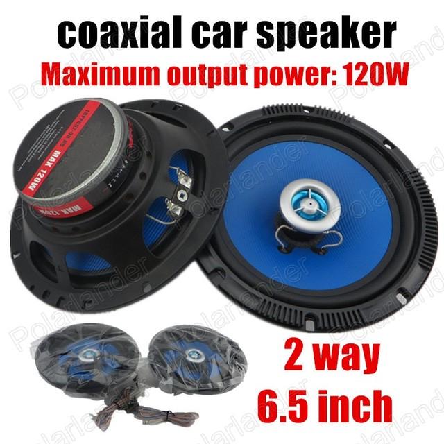 2 unids 2 Way 6.5 pulgadas Coche Altavoces Coaxiales Altavoces Estéreo Altavoces De Audio del coche 2x120 W para todos los coches de color azul caliente venta