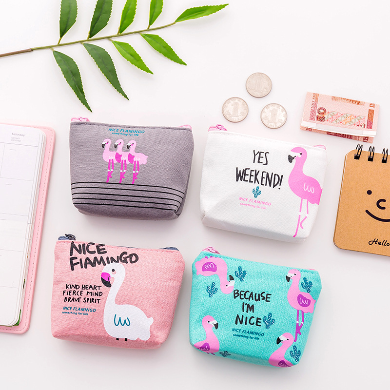 Wallet Children's Wallet Fashion Cartoon Flamingo Canvas Coin Purse Gift Bag Porte Monnaie Femme Small Bagcoin Money LQ005