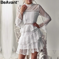 BeAvant Layered ruffle hollow out lace dress Women plus size flare sleeve white dress Elegant 2018 o neck winter dress party