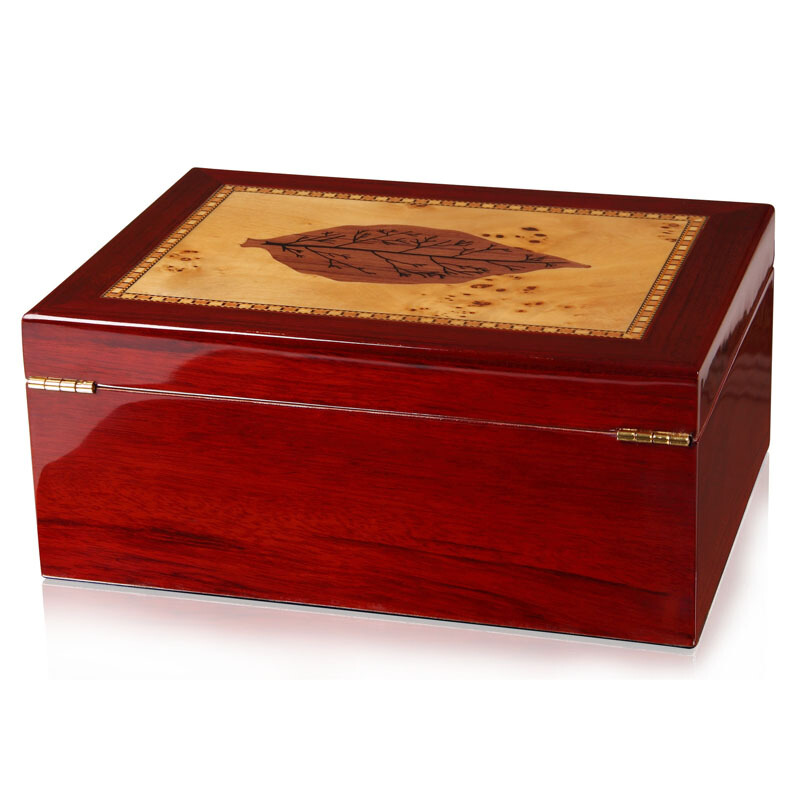 Tobacco Leaf Pattern Cigar Humidor Solid Cedar Wood Alcoholize Cigars Storage Box High Gloss Cigar Moisturizing Box boite cigareTobacco Leaf Pattern Cigar Humidor Solid Cedar Wood Alcoholize Cigars Storage Box High Gloss Cigar Moisturizing Box boite cigare
