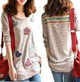 2014 nueva llegada de gran tamaño mujeres camiseta otoño primavera de manga larga flojo adelgaza elegante camiseta BUST120 XXXL