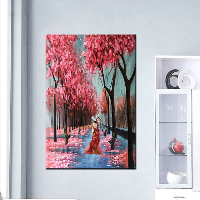Modern Large Streetscape Hand Painted Wall Painting Abstract Oil Paintings on Canvas Red Tree Scenery