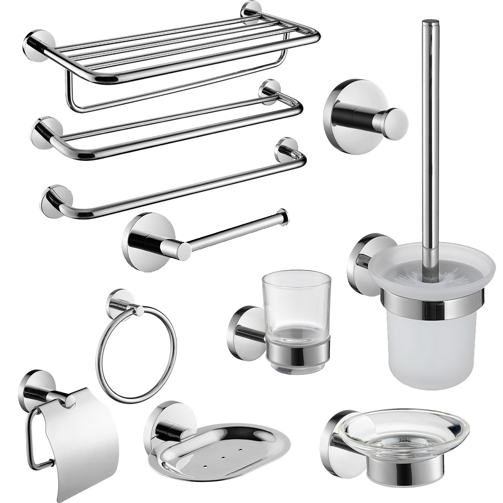 Luxury Crystal Silver Bathroom Accessories Set Chrome Polished Brass ...