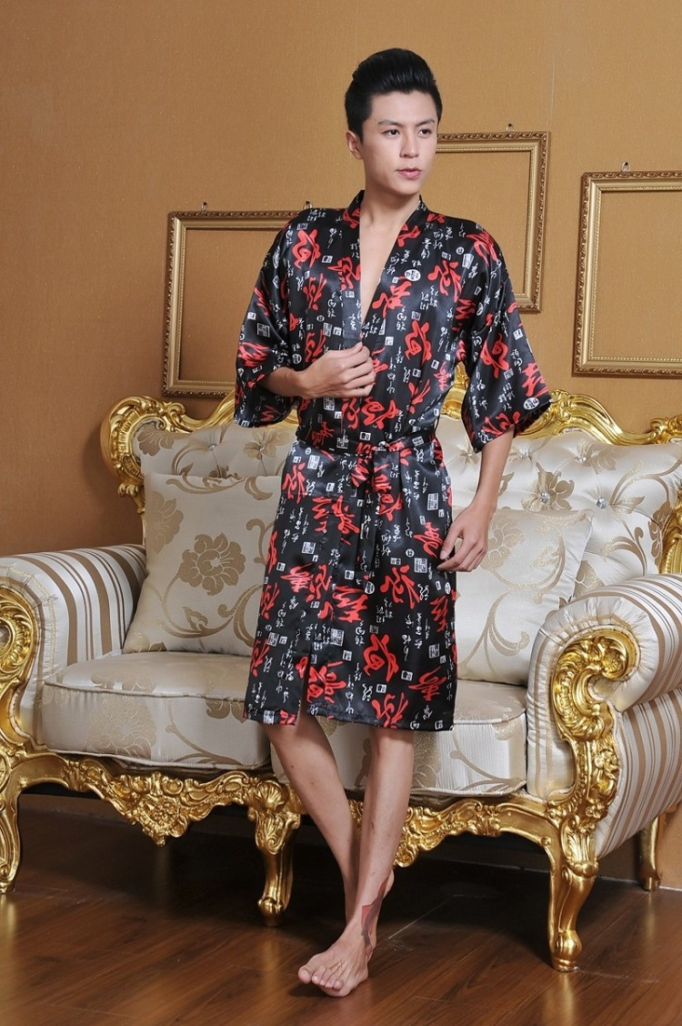 Mens Kimono Robe  Short Robes  Silk Satin Kimono Collar Robes for Men  Free  Size Half Sleeve Printed Men Polyester Bathrobe-in Robes from Underwear ... 330505df6