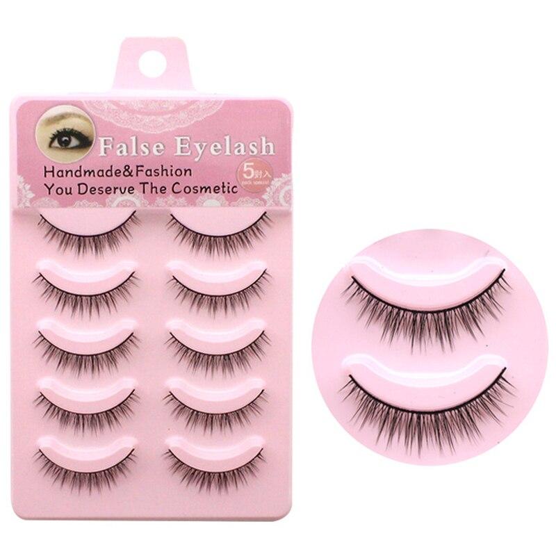 YOKPN Natural Short False Eyelashes 5 Pairs Handmade Crisscross Fake Eye Lashes Synthetic Fiber Beauty Makeup Eyelashes Tools