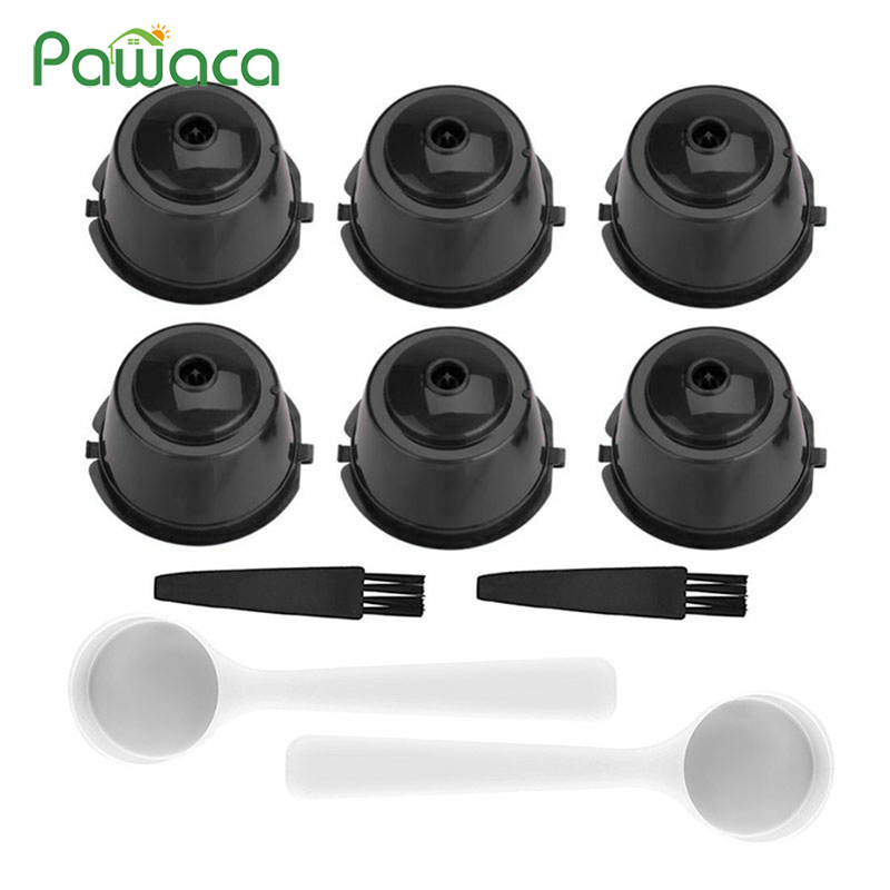 10pcs Reusable Coffee Filter Capsule Refillable Capsule Cups With Spoon And Brush For Dolce Gusto General, Circolo/Genio/Melody