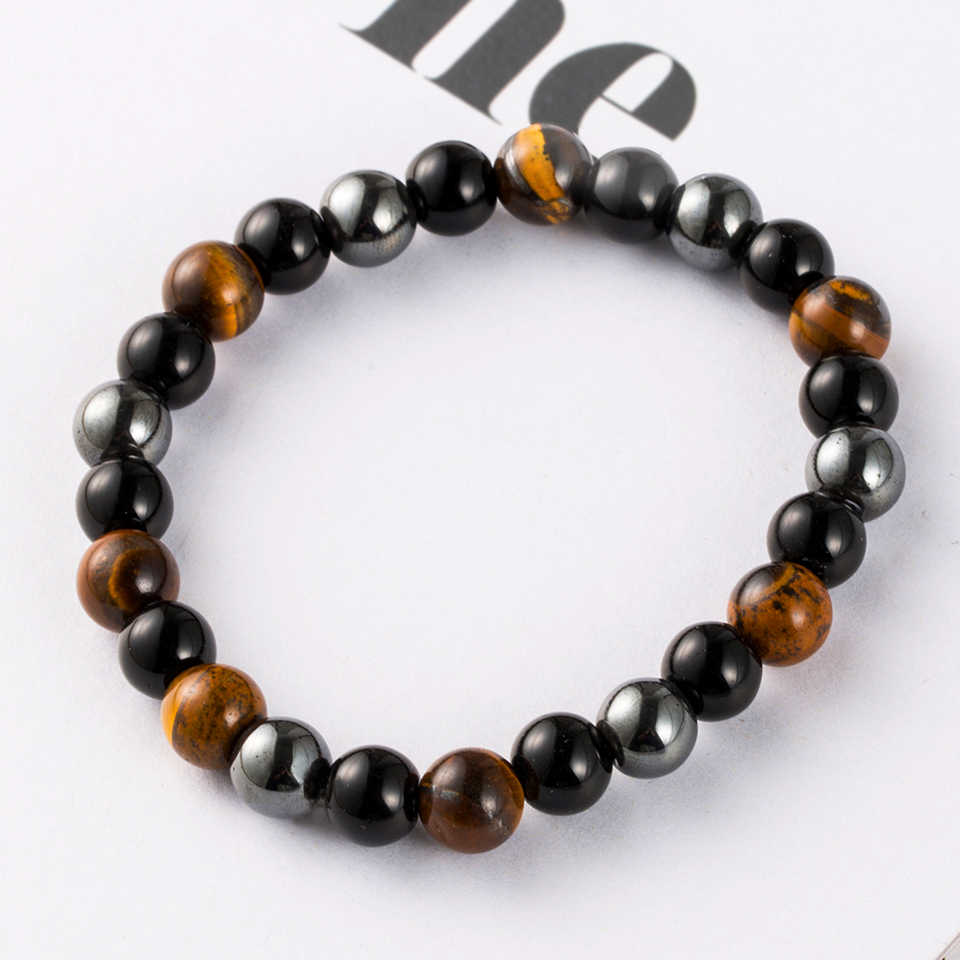 Natural Stone Hematite Stone Tiger Eye Beaded Strand Wrap Buddha Bracelets&Bangles for Men Male Jewelry Accessories