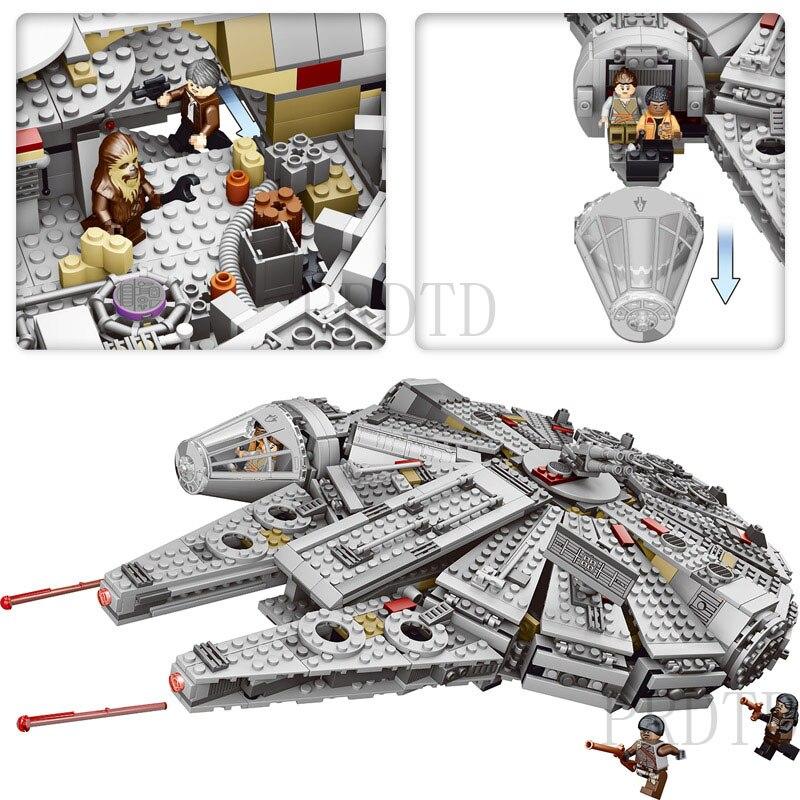 1381 Pcs Blocs de Construction LegoINGLYS StarWars Millennium Falcon Chiffres Star Wars Modèle Force Éveille Inoffensif Brique 75105 kid Jouet - 5