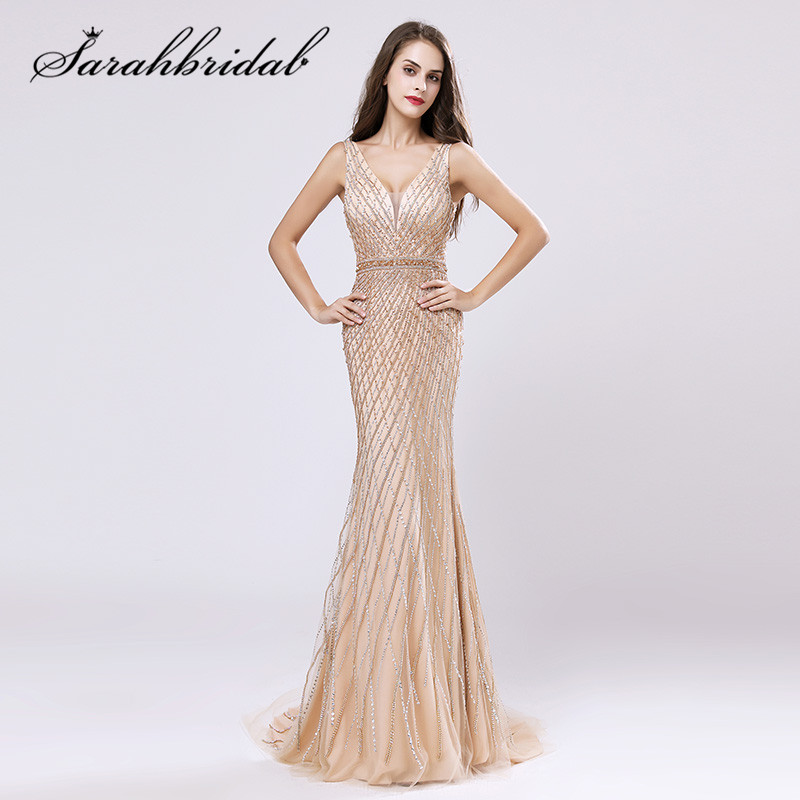 4fa04c6bbb8 Luxury Champagne Evening Dresses 2019 New Arrivals Charming V-neck Backless  Zipper Crystal Beaded Sequined