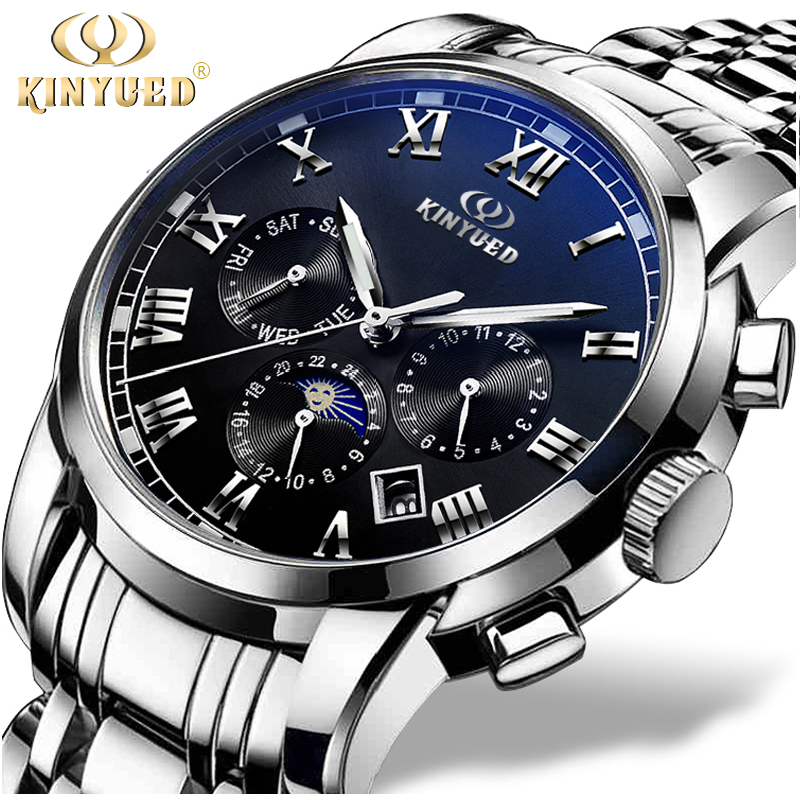 KINYUED Automatic Watch Men Sapphire Dial Business Mechanical Self Winding Watches Moon Phase Calendar Reloj Hombre With Box brand binkada boutique men s watches self winding automatic mechanical watch men business sapphire calendar crystal clock hours