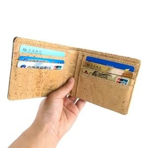 Image 5 - Hot Selling Bifold Kurk Portemonnee Mannen Korte Portefeuilles Vegan Lederen Card Wallet Beige Bruin Kleur