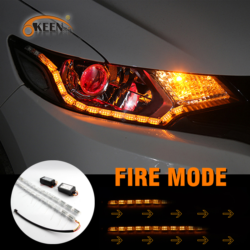 цена на OKEEN Fire Flexible White/Amber Switchback LED Knight Rider Strip Light headlight Sequential DRL Flowing Turn Signl angel eyes