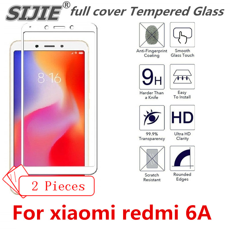 2 pcs full cover Tempered Glass For xiaomi redmi 6A 6 A redmi6A screen protective toughened case fit in on frame edges Suitable
