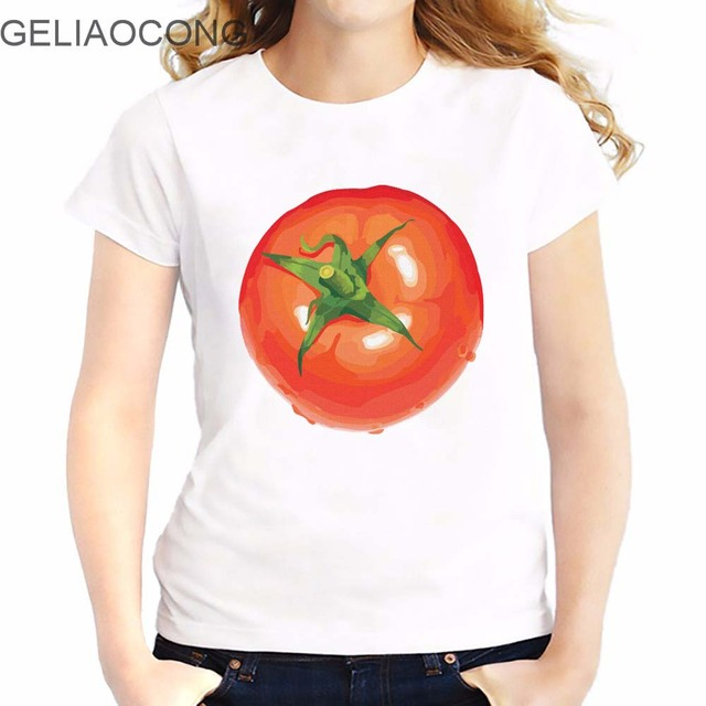 GELIAOCONG 2017 Tomato Euro Size Tomato And Potato Women T Shirts French  Fries Short Sleeve Woman 91d4279ae169
