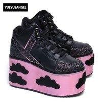 2018 блестками женская обувь на платформе Летние Дизайнерские на шнуровке круглый носок Вечерние Розовые каблуки обувь Для женщин удобная об