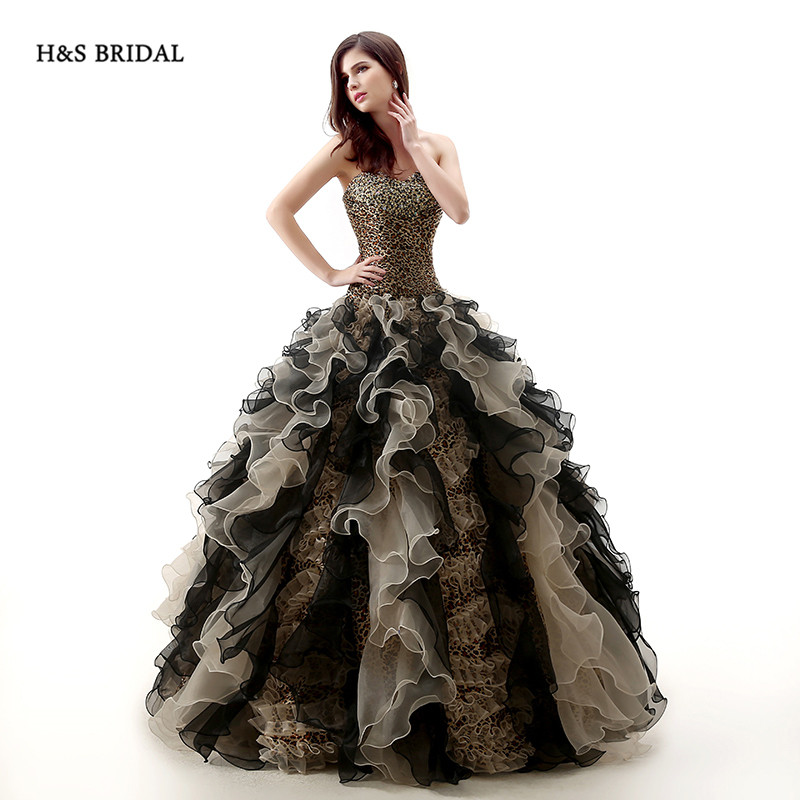 H&S BRIDAL Printed Satin Organza Ball Gown Prom Dresses quinceanera ...