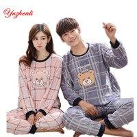 Yuzhenli Couple Pajamas Set Winter New Lovers Pajamas Men Women Sleepwear Warm Flannel Leisure Home Clothes