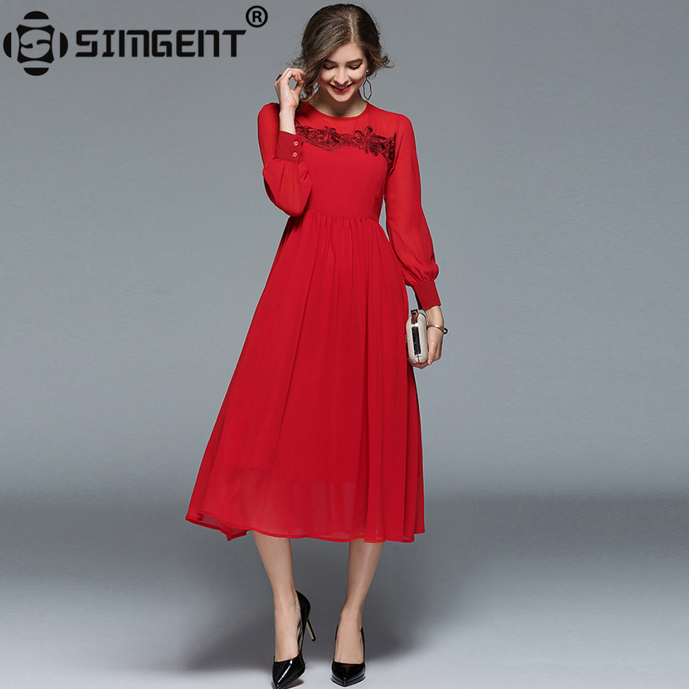 Simgent New Year Floral Embroidery Womens Full Sleeve Chiffon Party ...