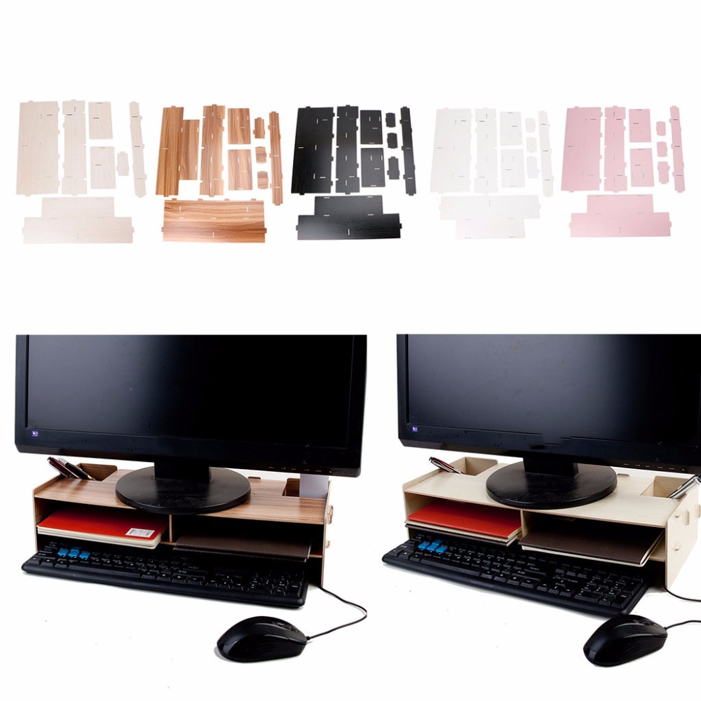 DEEK-ROBOT Wood Desktop Monitor Riser TV Stand Desk Organizer Storage Box For Computer Laptop fitueyes wood monitor stand computer monitor riser desktop organizer tv shelves display shelf storage space 2 tiers laptop stand