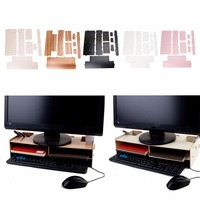 DEEK ROBOT Wood Desktop Monitor Riser TV Stand Desk Organizer Storage Box For Computer Laptop