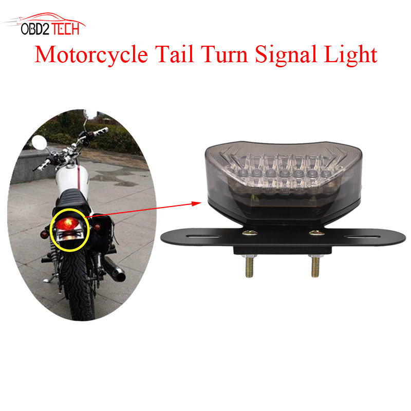 12V Universal Motorcycle Lens LED Lights Integrated Tail Brake Stop Running License Lamp Bulb Motorcycle Tail Turn Signal Light 1 x t25 3157 50w led car auto signal brake stop tail light bulb signal lamp white external lights