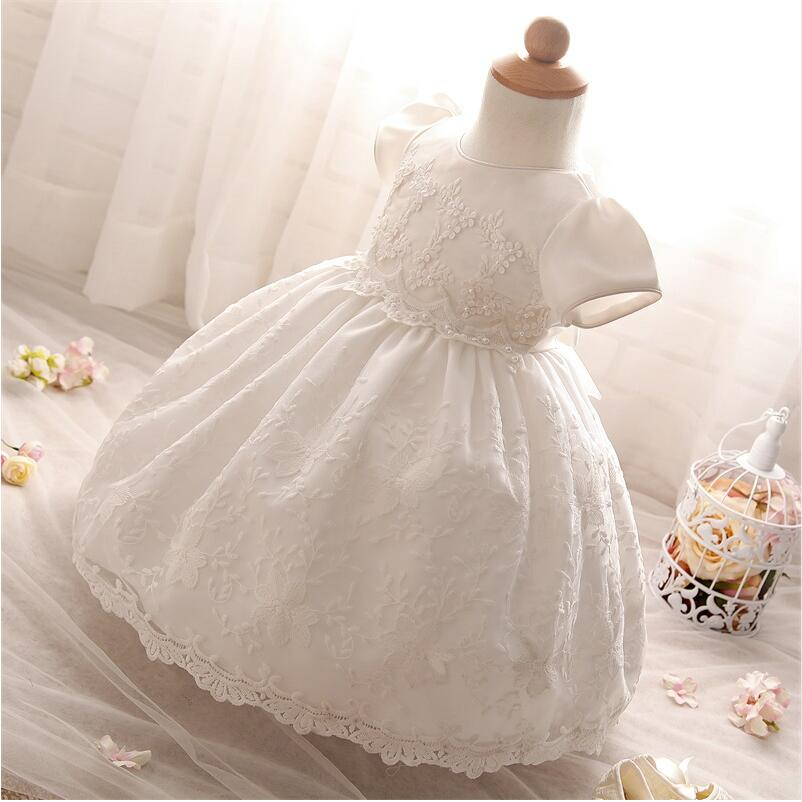 Baby Frock Design Toddler Girl Lace Christening Gown White