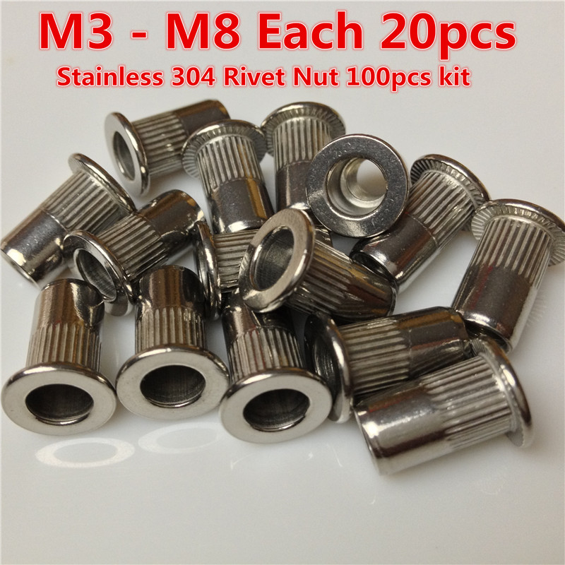100pcs stainless rivet nut m3 m4 m5 m6 m8 ss304 insert nut. Black Bedroom Furniture Sets. Home Design Ideas