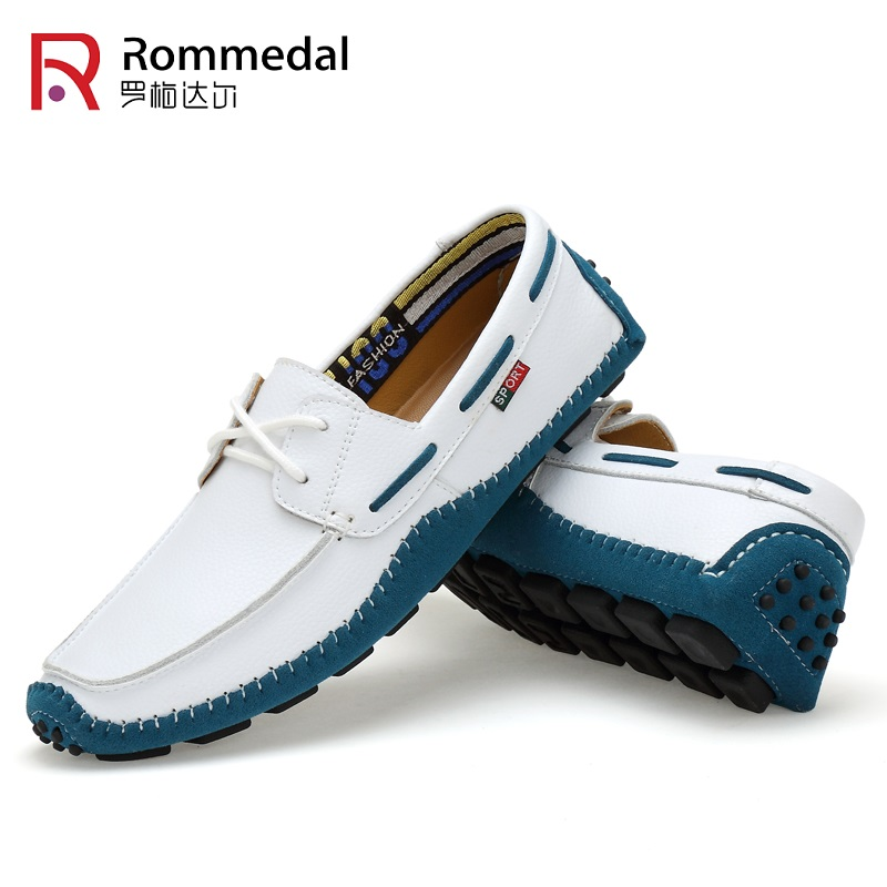 Rommedal Male Loafers Genuine Cow Leather Moccasins Slip-on Outdoor Walking Driving Men Casual Shoes Flats Comfy Footwear Sz 47