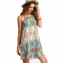 Summer Beach Mini Dresses For Women Boho Green Vintage Style O-Neck Sleeveless Placement Print Elegant Mini Dress FUO#68