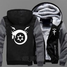 New Fullmetal Alchemist Hoodie Anime Edward Elric Coat Jacket Winter Men Thick Zipper  Sweatshirt