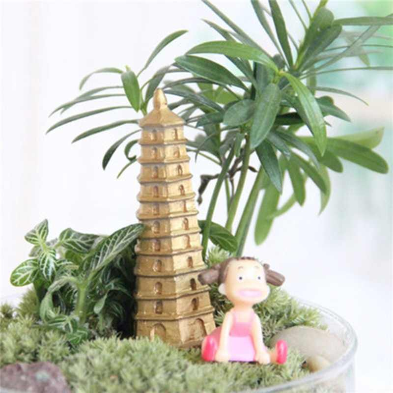 Mini accessories Pagoda tower fairy garden miniatures moss terrariums resin crafts figurines for home decoration