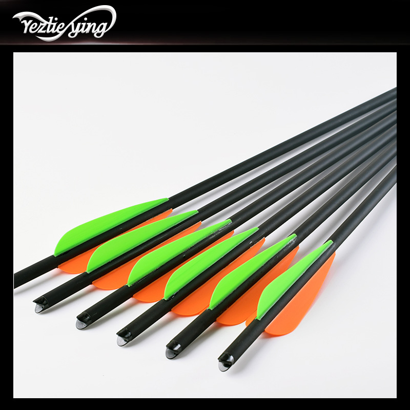 Image 4 - 24PCS 13/16/18/20 Inch Carbon Arrow Orange Green Feather Replaceable Arrow Outdoor Anger Hunting Recurve Bow Archery-in Bow & Arrow from Sports & Entertainment