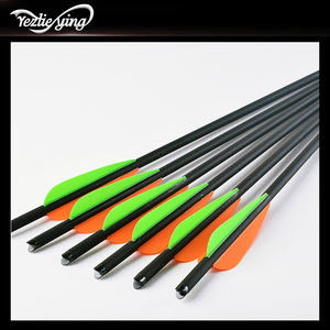 Image 4 - 24PCS 13/16/18/20 Inch Carbon Arrow Orange Green Feather Replaceable Arrow Outdoor Anger Hunting Recurve Bow Archery