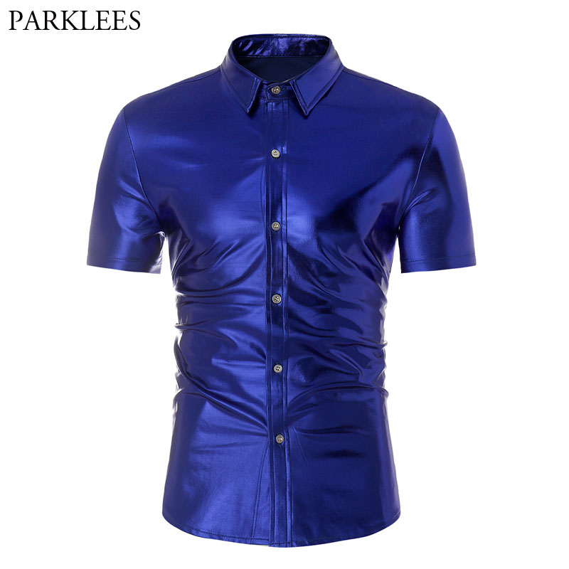Royal Blue Coated Metallic Shirt Men Stage Dance Prom Night Club Wear Men's Short Sleeve Slim Fit Elastic Shirt Chemise Homme