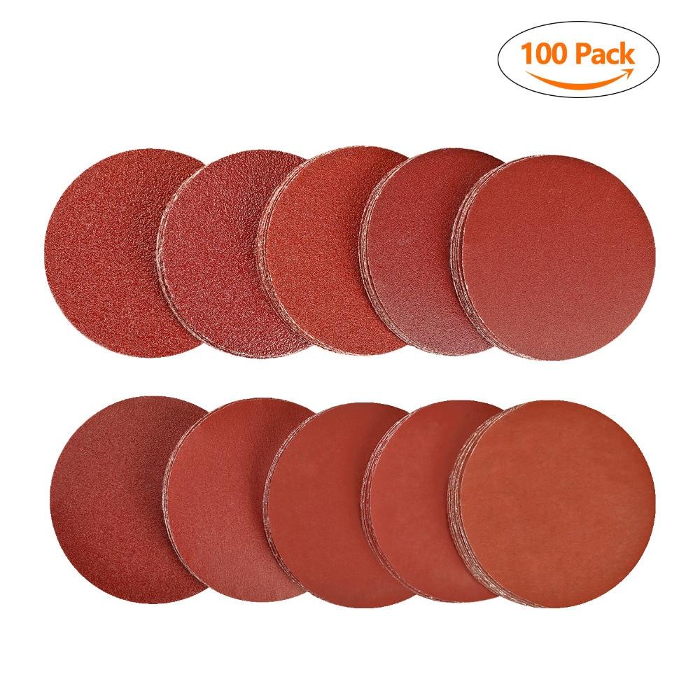 SPTA 100pcs 3 inch Sanding Discs Pad 40#-2000# Grit Random Orbit Hook & Loop Kit Woodworking Sander Sand Paper Discs Grit Sand