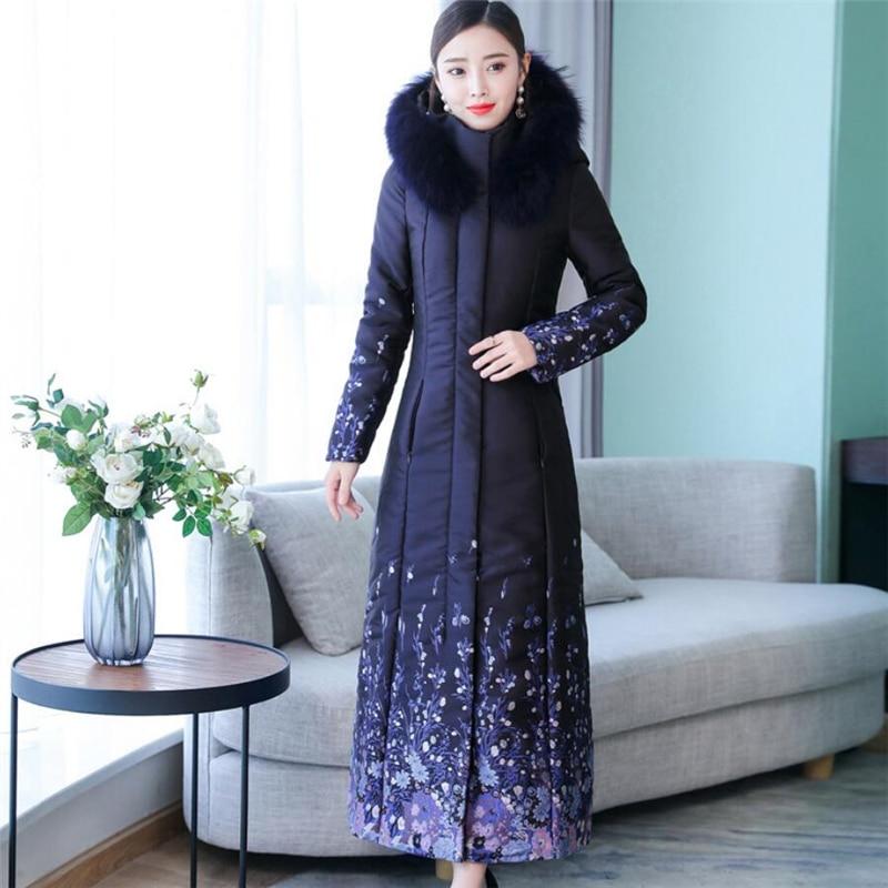 2019 Winter Women's Extra Long   Parka   Autumn Fashion Plus Size Print Fur Collar Hooded Thick Warm Down Cotton Ladies Overcoat 3XL