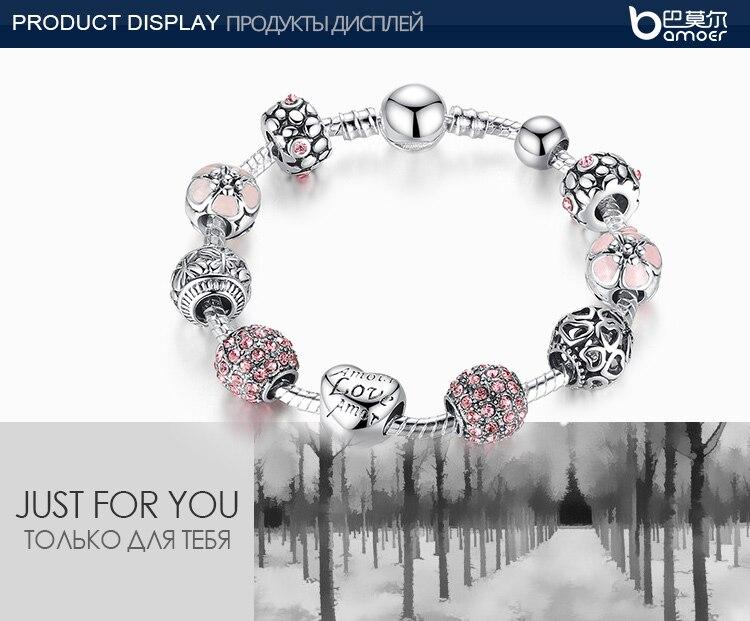 BAMOER античный серебряный шарм браслет и браслет с любовь и цветок бусины для женщин Свадебные украшения 4 цвета 18 см 20 21 PA1455