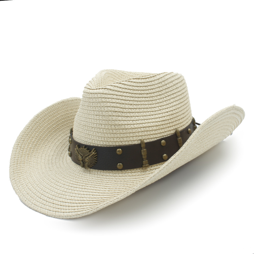 Straw Women Men Western Cowboy Hats For Summer Gentleman Outdoor Summer  Sombrero Hombre Beach Sun Cap Size 56 58CM-in Cowboy Hats from Men s  Clothing ... 664f7476c11a