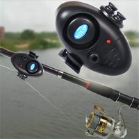 Black Fishing Electronic LED Light Fish Bite Sound Alarm rod Bell Clip On Fishing Rod Tackle Fishing Tool Pesca Accesorios 7