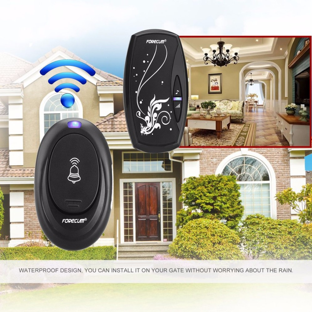 Waterproof Wireless Doorbell Bell 100M Range Waterproof Doorbell In 220V Digital LED With 36 Songs Tune Melody 1 Remote Control 38 tune melody digital receiver doorbell 1 remote control 2 wireless door bell m25