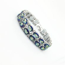 Women Fashion Jewelry Bracelets Charm Design Gold Filled Blue Rainbow Mystic Color AAA Zircon Stone High Quality(China)