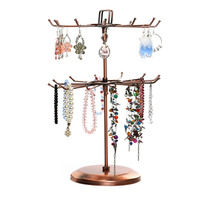 Revolving Jewelry Storage Rack Necklace Pendant Jewelry Bracelet Jewelry Two Layer Display Stand for Bedroom Jewelry Storage