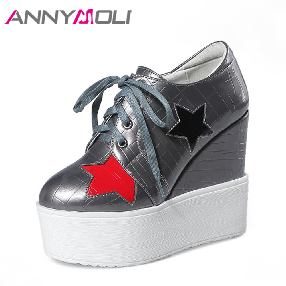 ANNYMOLI Platform Wedges High Heels Shoes Women Pumps Star Lace Up Increasing Shoes Black Hidden Heels PU Patent Leather Shoes xiaying smile woman pumps women shoes wedges heels platform casual thick sole lace up heart shaped patent leather women shoes