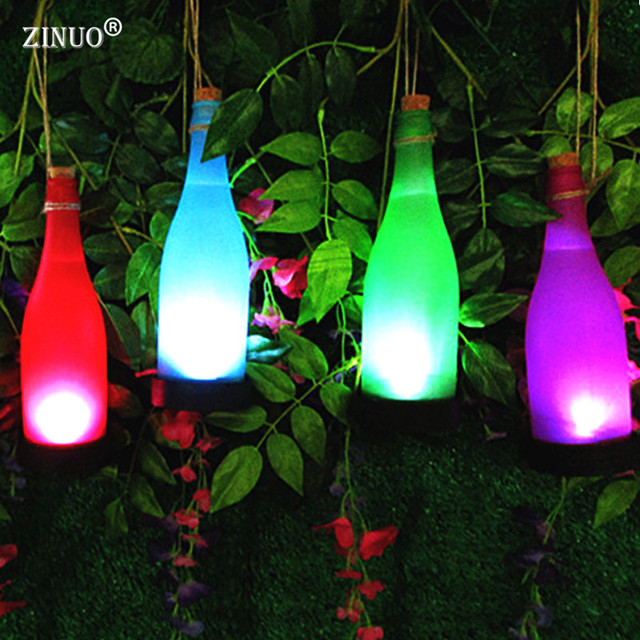 ZINUO 5Pcs/Lot Noverty Solar Led Bottle Lamps Colorful Outdoor Night Light  Hanging Lawn Yard